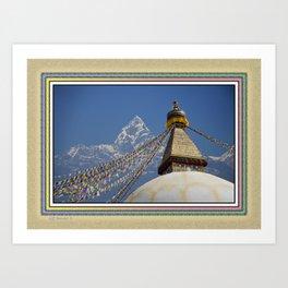 BOUDHANATH AND MACHAPUCHARE NEPAL COMPOSITE Art Print