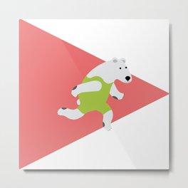 Running Polar Bear Triangle Metal Print