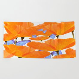 Poppies And Butterflies White Background #decor #society6 #buyart Beach Towel
