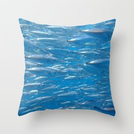 Fish shoal of common bellowsfish Throw Pillow