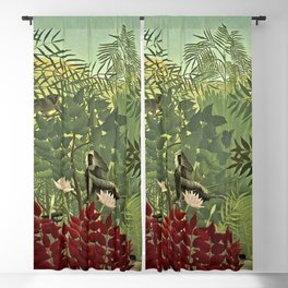 Classical Masterpiece 'Tropical forest with monkey and snake' by Henri Rousseau Blackout Curtain