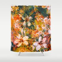 valentina Shower Curtains featuring Tropical Summer by RIZA PEKER