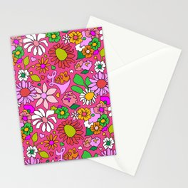 60's Lovers Floral in Lipstick Pink Stationery Cards