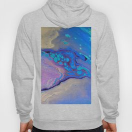 Slow Down Purple - Ultra Violet and Blue Fluid Pour Painting Abstract Hoody