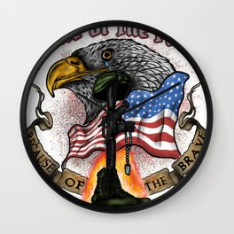 Land of the Free Because of the Brave Fourth July Wall Clock