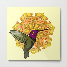 hummingbird and heptagon mandala Metal Print