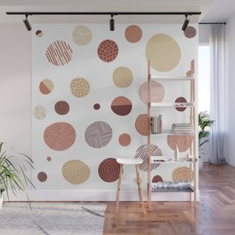 Freehand illustrated circles - Fall colours Wall Mural