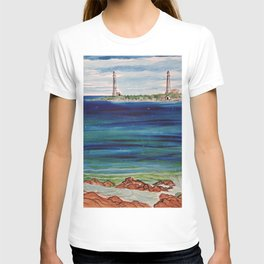 Thatcher island lighthouses on a peaceful day T-shirt