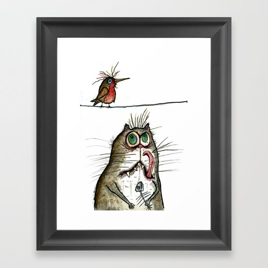 A Cat ponders, fish or poultry? Framed Art Print