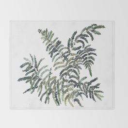 Woodland Fern Botanical Watercolor Illustration Painting Throw Blanket