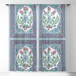 Turkish Tile Pattern – Vintage iznik ceramic with tulips Sheer Curtain