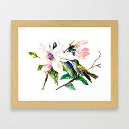 Hummingbird and Magnolia Flowers Framed Art Print