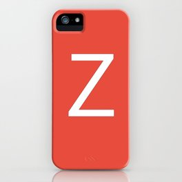 Letter Z Initial Monogram - White on Alizarin iPhone Case