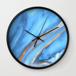 Blue & Gold Watercolor Wall Clock