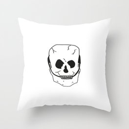 Skull with braces Throw Pillow