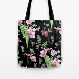 Spring flowers on black background Tote Bag