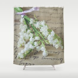 Love letter with lily of the valley Shower Curtain