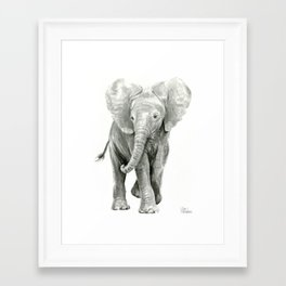 Baby Elephant Watercolor Framed Art Print