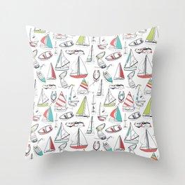 Sailing Boat Pattern Throw Pillow
