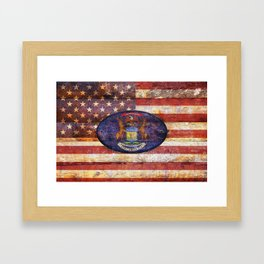 Michigan and USA flag on old wooden planks. Framed Art Print