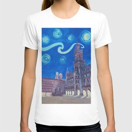 Starry Night In Munich - Van Gogh Inspirations with Church of Our Lady and City Hall T-shirt