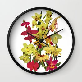 Orchids - Hot Colors! On white Wall Clock