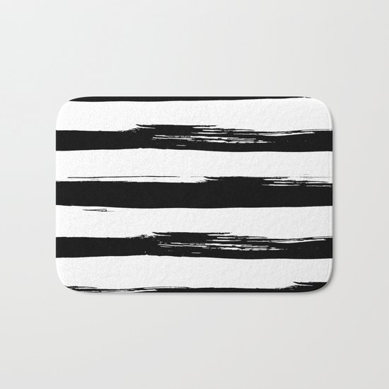 Stylish Black and White Stripes Bath Mat
