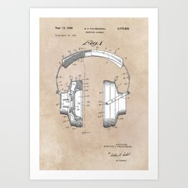 patent art Falkenberg Headphone assembly 1966 Art Print