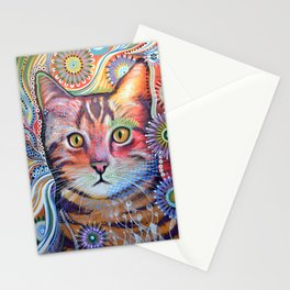 Olivia ... abstract pet animal cat kitty art Stationery Cards