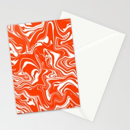 Orange and White Oil Spill Stationery Cards