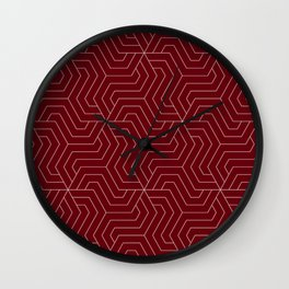 Rosewood - red - Modern Vector Seamless Pattern Wall Clock