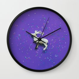 white deer on ultra viotel background Wall Clock