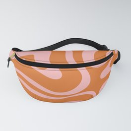 Liquid Candy Retro Swirl Abstract Pattern in Orange and Pink Fanny Pack