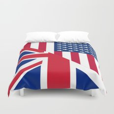 American and Union Jack Flag Duvet Cover