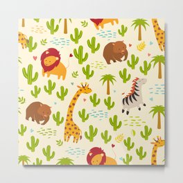 Animals seamless vector background. Giraffe, zebra, wombat and cactus, palm. Children, print, funny Metal Print