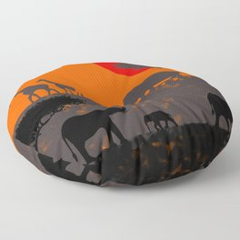 Elephants in the savanna Floor Pillow