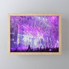 Cheering Crowd Celebrating At Concert Lilac Saturation Framed Mini Art Print