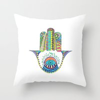 hamsa Throw Pillows featuring HAMSA by Heaven7