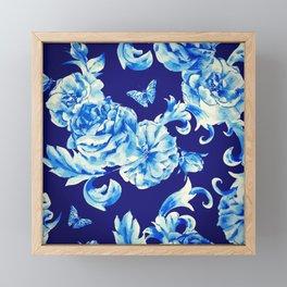 Blue Flowers & Butterflies Pattern Framed Mini Art Print