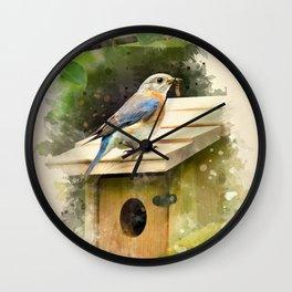Watercolor Bluebird Art Wall Clock