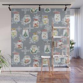 Christmas Jars Grey Wall Mural