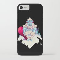 snowboard iPhone & iPod Cases featuring Snowboard Yeti [black background] by garciarts