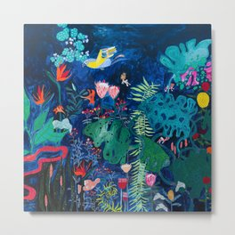 Brightly Rainbow Tropical Jungle Mural with Birds and Tiny Big Cats Metal Print