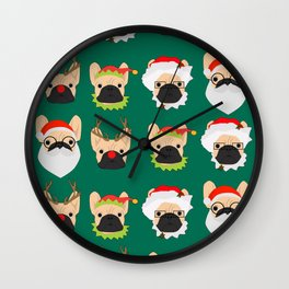 Xmas Bulldogs Wall Clock