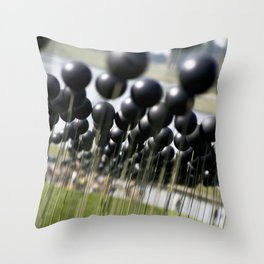 Parisian Photograph Outdoor Art Installation Shinny Black Balls  Throw Pillow