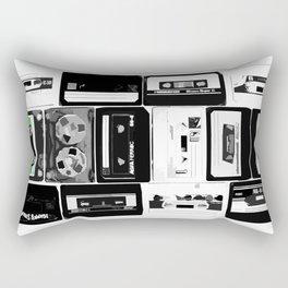 Retro Music Cassette Tapes - Black & White Rectangular Pillow