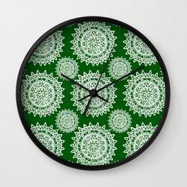 Emerald Green and Silver Patterned Mandalas Wall Clock