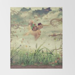 The little boy and brown pelican fly in the sky Throw Blanket