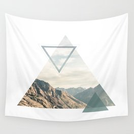 Mountain with Shapes Wall Tapestry