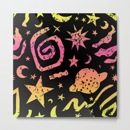 Celestial Surf Splatter in Neon Ombre + Black Metal Print